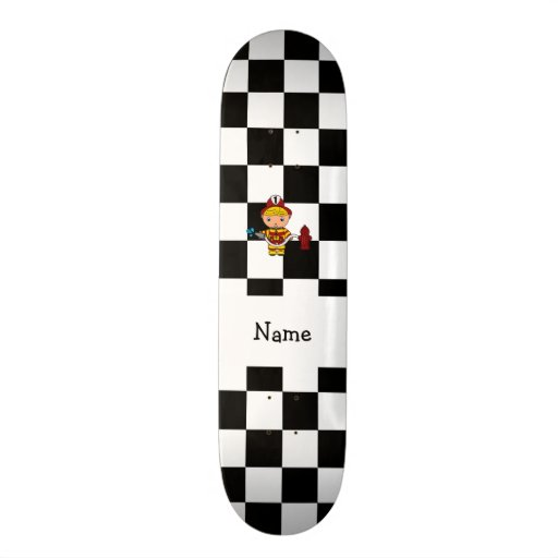 Personalized name fireman black and white checkers skate boards