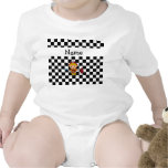 Personalized name fireman black and white checkers bodysuit