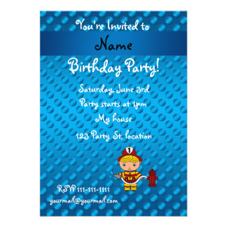 Personalized name fireman blue polka dots custom announcement