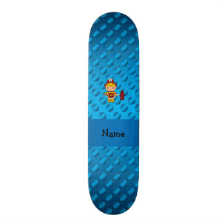 Personalized name fireman blue polka dots skate board decks
