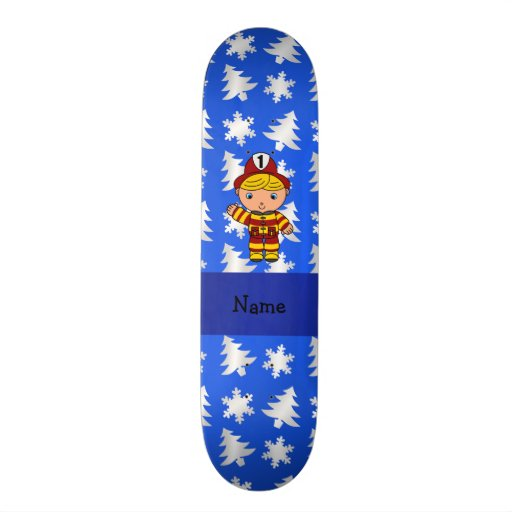 Personalized name fireman blue snowflakes trees skate decks