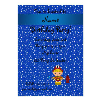 Personalized name fireman blue stars pattern invite