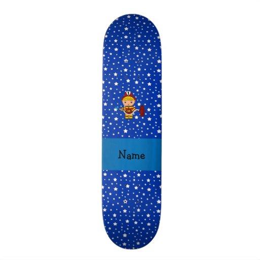 Personalized name fireman blue stars pattern skateboard decks