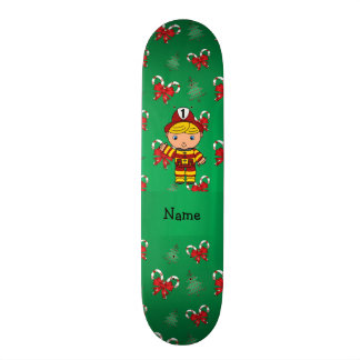 Personalized name fireman green candy canes bows skate deck