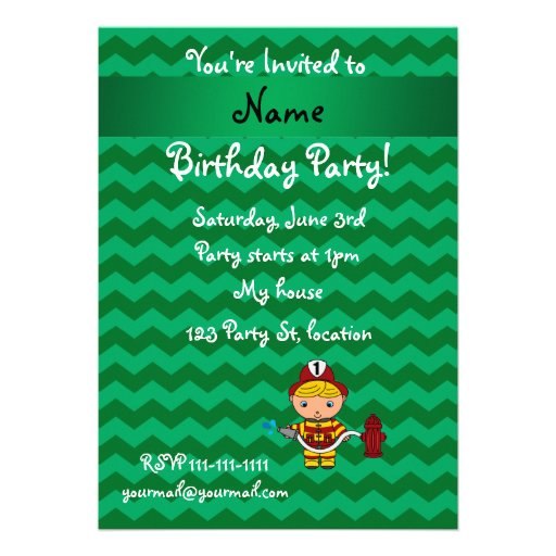 Personalized name fireman green chevrons custom announcements