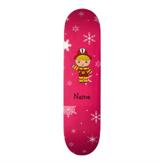 Personalized name fireman pink snowflakes skate deck