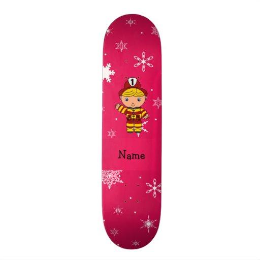 Personalized name fireman pink snowflakes skate deck