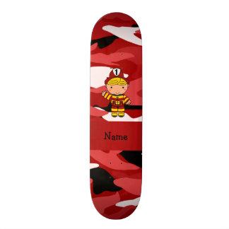 Personalized name fireman red camo custom skate board