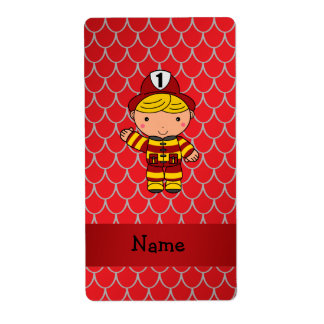 Personalized name fireman red dragon scales labels