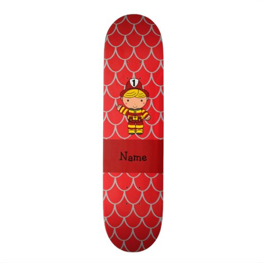 Personalized name fireman red dragon scales skateboard deck