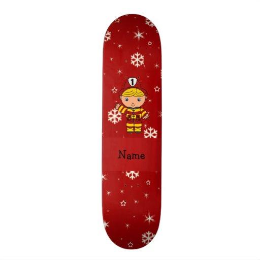 Personalized name fireman red snowflakes custom skate board