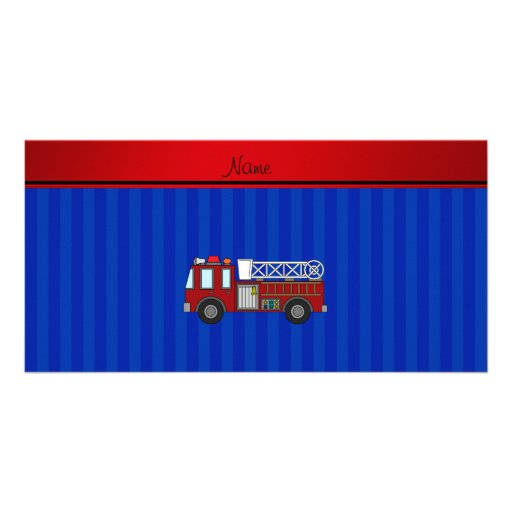 Personalized name firetruck blue stripes photo cards