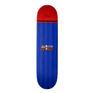 Personalized name firetruck blue stripes skateboard deck