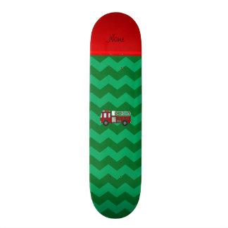 Personalized name firetruck green chevrons skate board decks