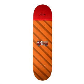 Personalized name firetruck orange diagonal stripe skateboard deck