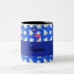 Personalized name flamingo blue snowflakes trees
