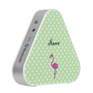 Personalized name flamingo green polka dots speaker