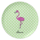 Personalized name flamingo green polka dots plate
