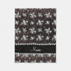 Personalized name fleur de lis black glitter fleece blanket