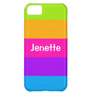 Personalized Name Fluorescent Neon Colors Striped Cover For iPhone 5C