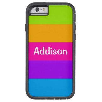 Personalized Name Fluorescent Neon Colors Striped Tough Xtreme iPhone 6 Case