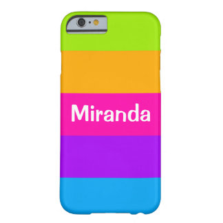 Personalized Name Fluorescent Neon Colors Striped Barely There iPhone 6 Case