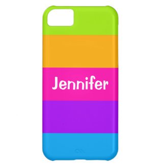 Personalized Name Fluorescent Neon Colors Striped iPhone 5C Cases