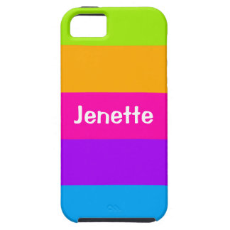 Personalized Name Fluorescent Neon Colors Striped Case For The iPhone 5