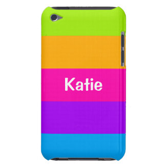 Personalized Name Fluorescent Neon Colors Striped iPod Touch Case-Mate Case