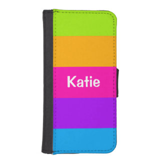Personalized Name Fluorescent Neon Colors Striped Phone Wallet Case