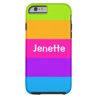 Personalized Name Fluorescent Neon Colors Striped Tough iPhone 6 Case