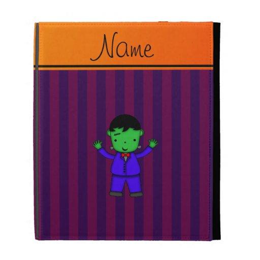 Personalized name frankenstein purple stripes iPad case