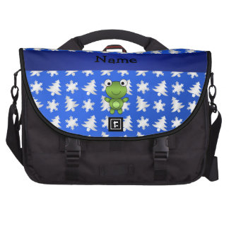 Personalized name frog blue snowflakes trees computer bag