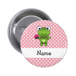 Personalized name frog cupcake pink polka dots 2 inch round button