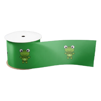 Personalized name frog green background satin ribbon