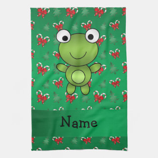 Personalized name frog green candy canes bows hand towels
