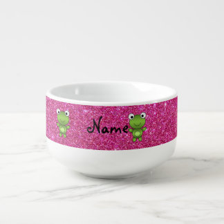 Personalized name frog pink glitter soup mug