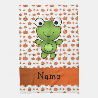 Personalized name frog pumpkins pattern towels