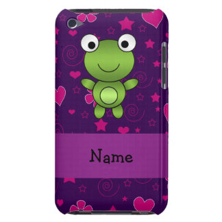 Personalized name frog purple pink flowers hearts barely there iPod cover