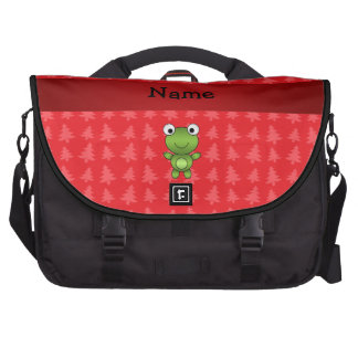 Personalized name frog red christmas trees laptop messenger bag