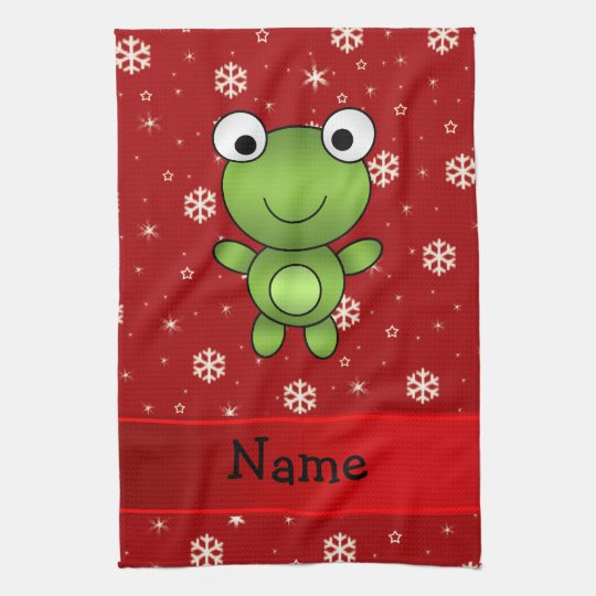 Personalized name frog red snowflakes hand towels