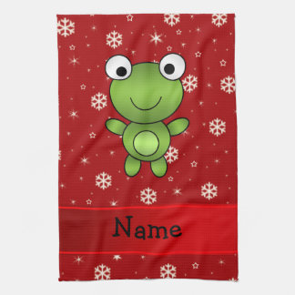 Personalized name frog red snowflakes kitchen towel