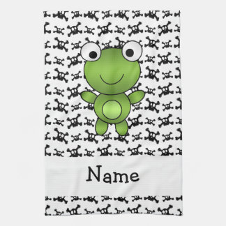 Personalized name frog skulls pattern hand towel