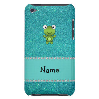 Personalized name frog turquoise glitter iPod touch cover