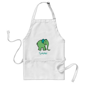 Personalized Name Fun Green Cartoon Elephant Standard Apron