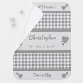 Personalized name gingham gray gender neutral baby blanket