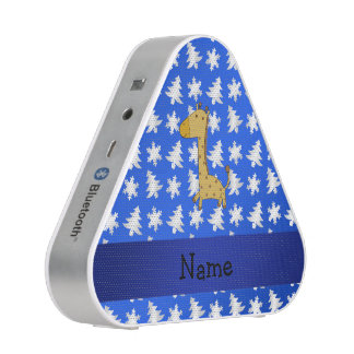 Personalized name giraffe blue snowflakes trees blueooth speaker