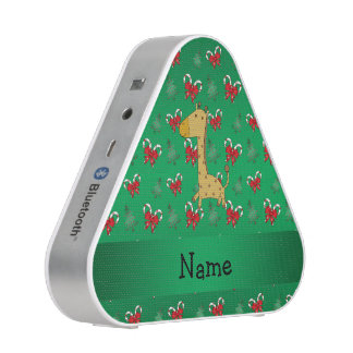Personalized name giraffe green candy canes bows speaker