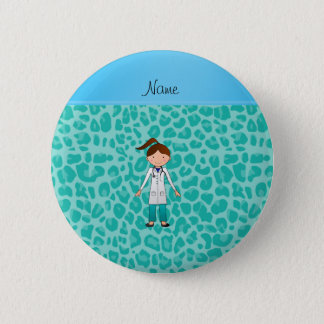 Personalized name girl doctor green leopard 2 inch round button