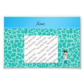 Personalized name girl doctor green leopard photo